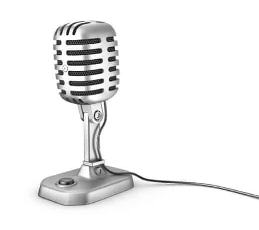 Retro microphone. Isolated on white. 1