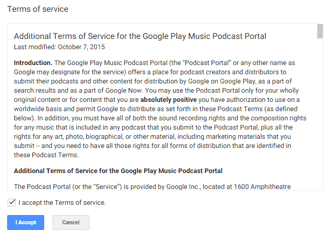 Google Play Music Podcast Terms of Service